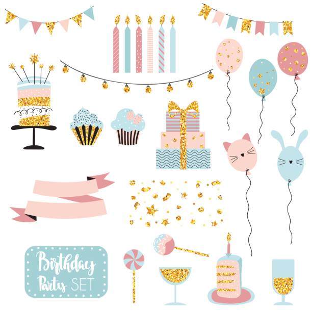 Set of birthday party elements Party set of decorations, gifts, baloons, cakes, garlands with flags. Vector hand drawn illustration, scandinavian style with gold glittering elements. cake clipart stock illustrations