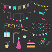 Set of birthday party elements. Vector. Isolated.