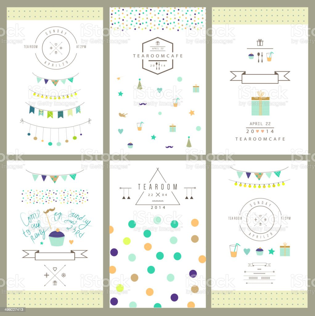 Set of birthday party invitations. Vector. Isolated. vector art illustration