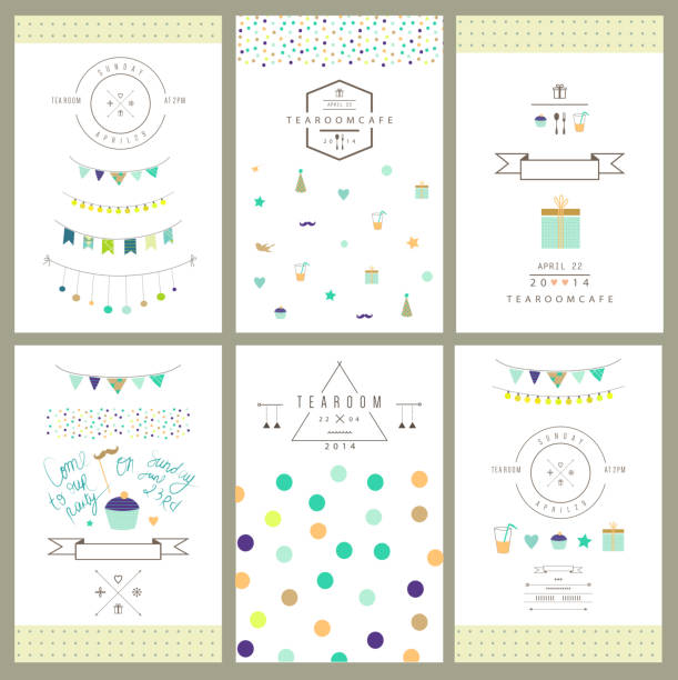 Set of birthday party invitations. Vector. Isolated. vector art illustration