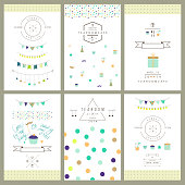 Set of birthday party invitations. Vector. Isolated.