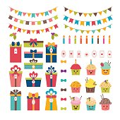 Set of birthday party or Christmas design elements. Colorful flags, cupcakes, gifts, candles, bows and labels. Vector illustration
