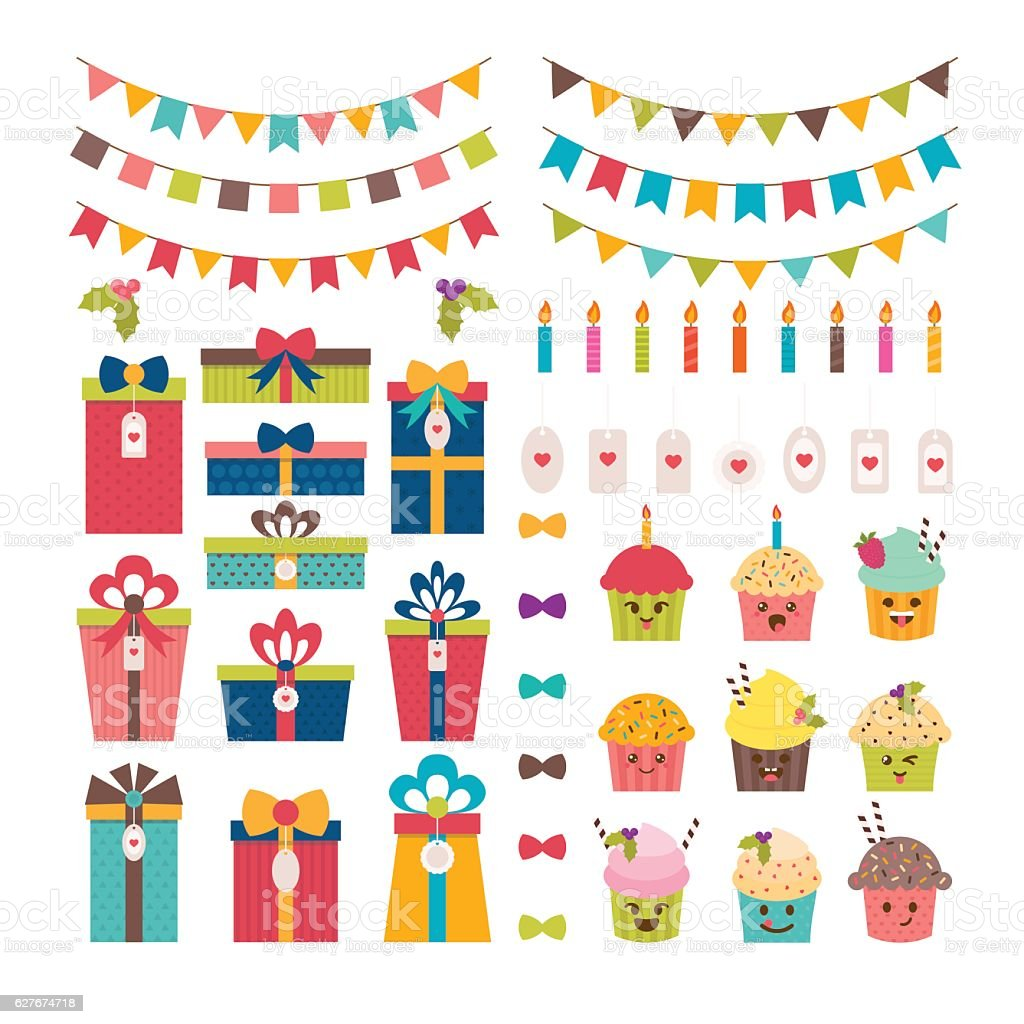 Set of birthday party or Christmas design elements vector art illustration