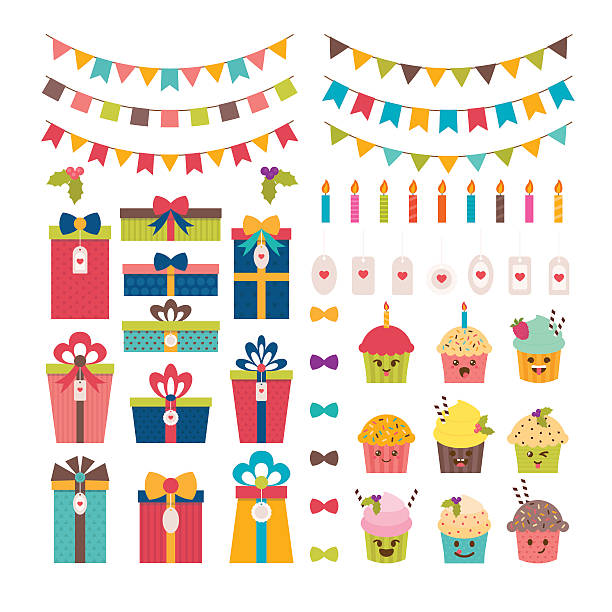set of birthday party or christmas design elements - baby party stock-grafiken, -clipart, -cartoons und -symbole