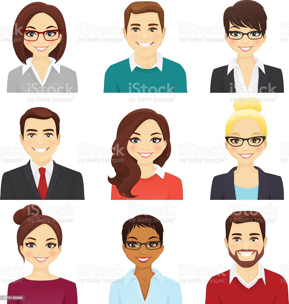 Set of bisiness men and women vector art illustration