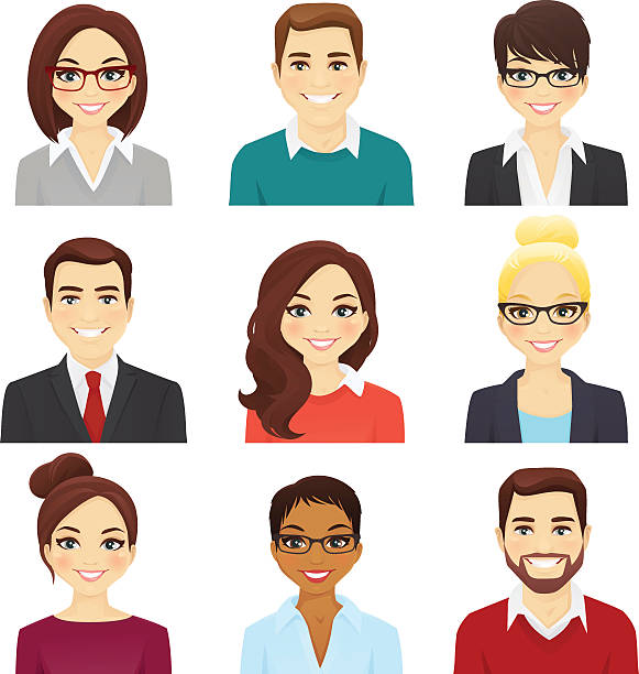 set of bisiness men and women - female faces stock illustrations, clip art, cartoons, & icons
