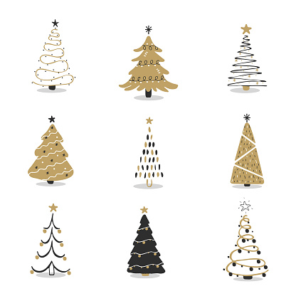 Set of black and gold christmas tree icons. Xmas symbol, simple pictogram collection. Winter season design element. New year silhouette sign. Vector illustration in flat style.