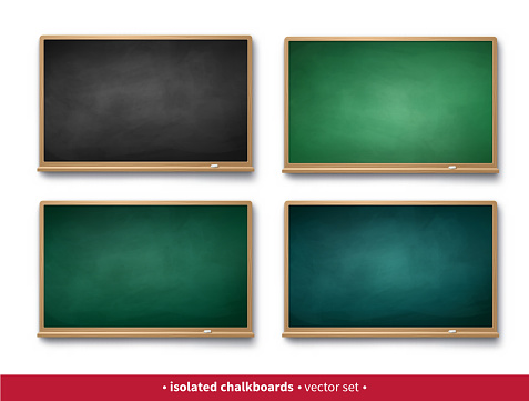 Vector illustration set of black and green horizontal chalkboards with wooden frames with piece of chalk and shadow isolated on white background.