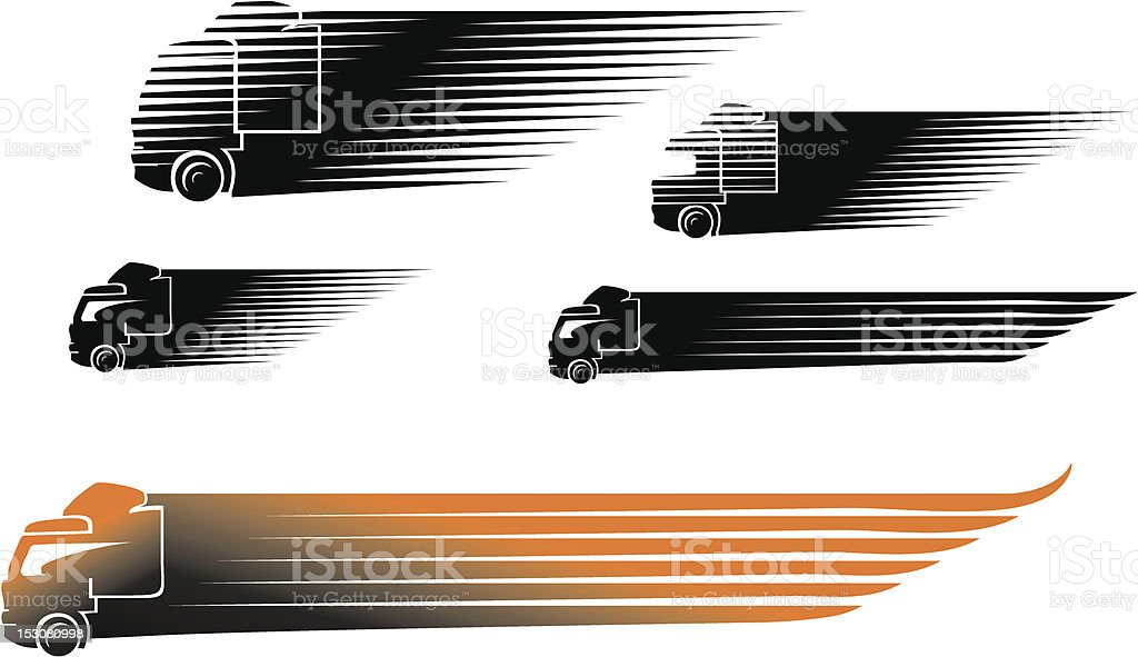 Set of black and orange abstract trucks speeding by vector art illustration