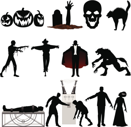 Set of black and red Halloween illustrations on a white