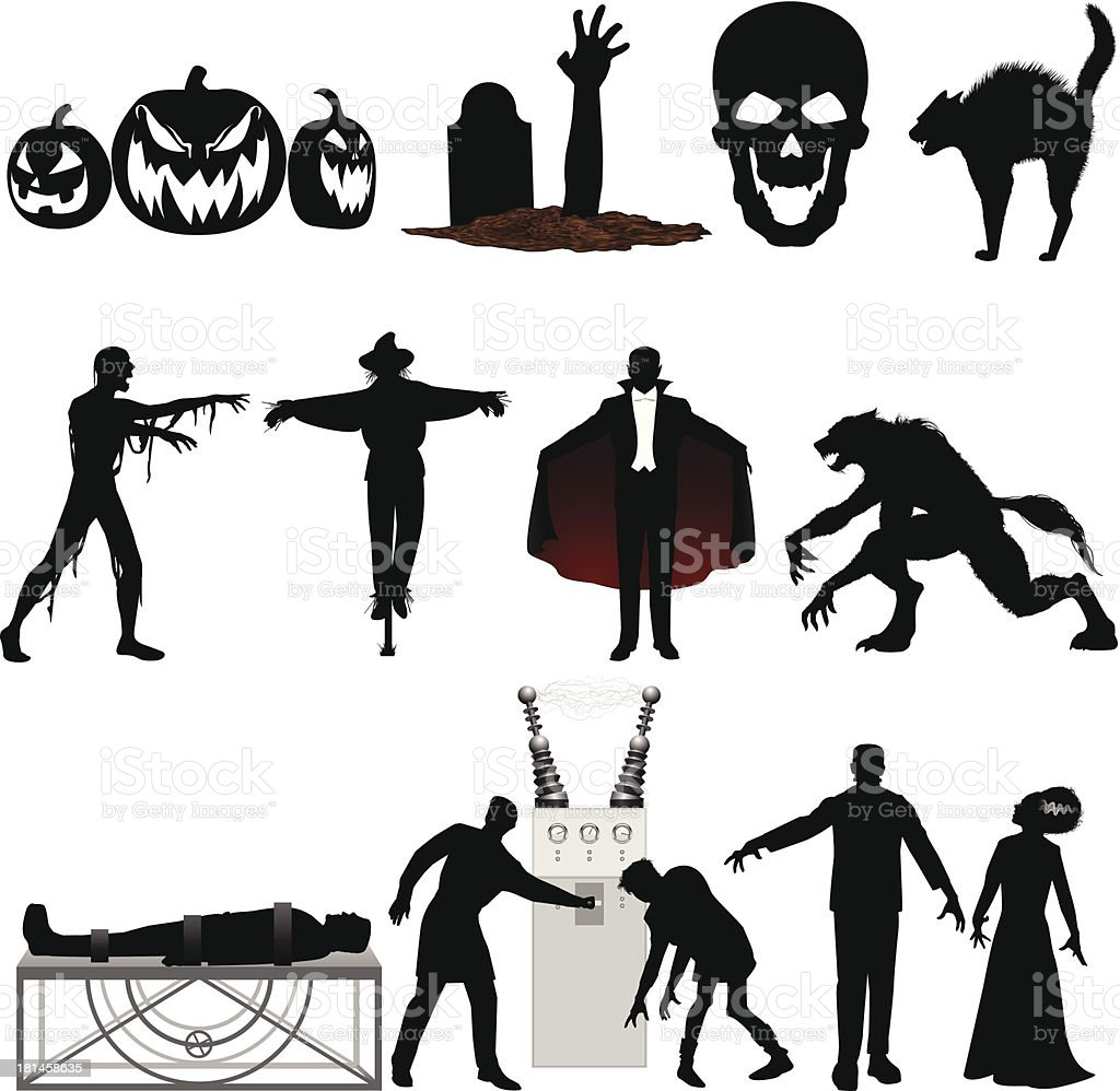 Set of black and red Halloween illustrations on a white vector art illustration