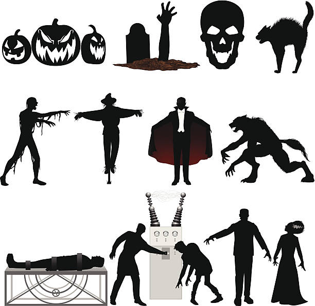 Set of black and red Halloween illustrations on a white Vampire, werewolf, Frankenstein and more. Files included – jpg, ai (version 8 and CS3), svg, and eps (version 8) halloween cat stock illustrations