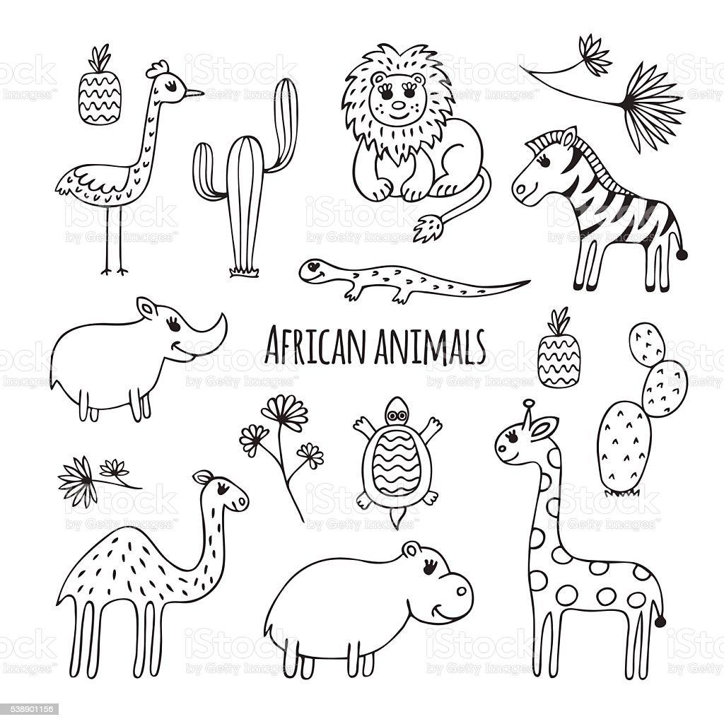 のセット白黒のアフリカ動物 - いたずら書きのベクターアート素材や画像