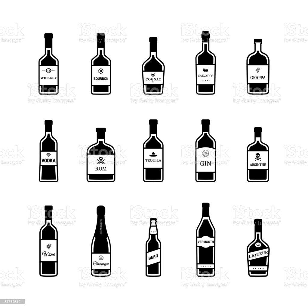 Set of black and white alcohol bottles. Vector vector art illustration