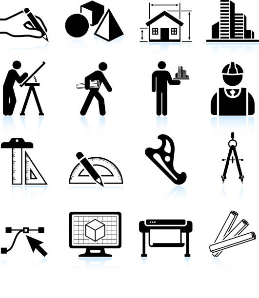 stockillustraties, clipart, cartoons en iconen met set of black and white architecture icons - hand constructing industry