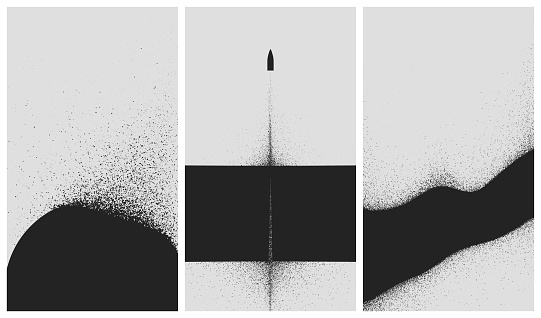 Set of black and white backgrounds with dust explosion and particle spraying