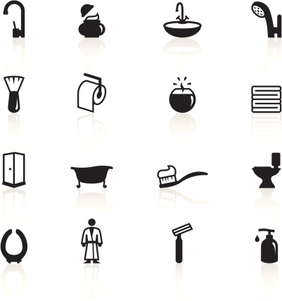 Set of black and white bathroom icons