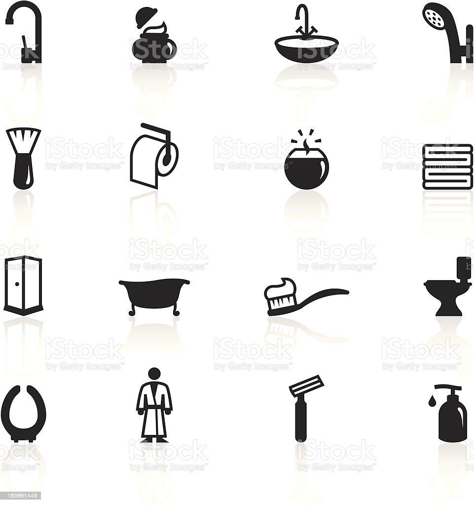Set of black and white bathroom icons vector art illustration