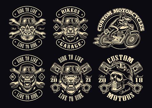 A set of black and white biker illustrations