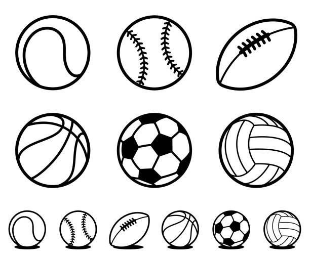 set of black and white cartoon sports ball icons - football stock illustrations, clip art, cartoons, & icons