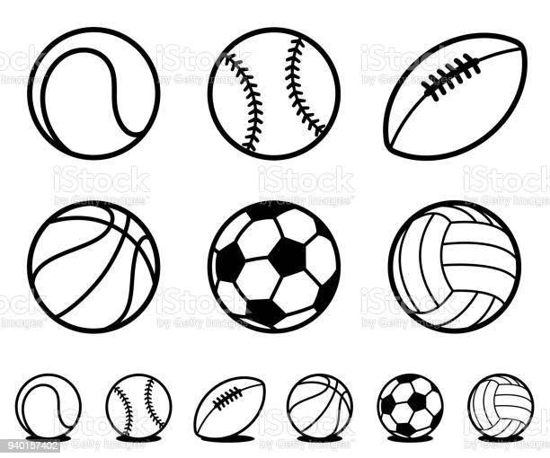 Set Van Zwart En Wit Cartoon Sport Bal Pictogrammen Stockvectorkunst en meer beelden van American football - Bal