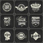 Set of black and white coffee logos