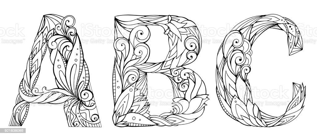 Ilustración de Conjunto De Letras Doodle Blanco Y Negro Con El ...