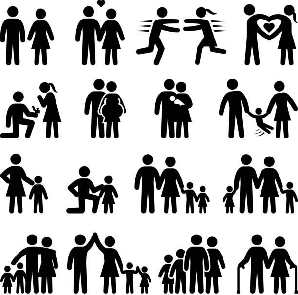 bildbanksillustrationer, clip art samt tecknat material och ikoner med set of black and white family life icons - young couple