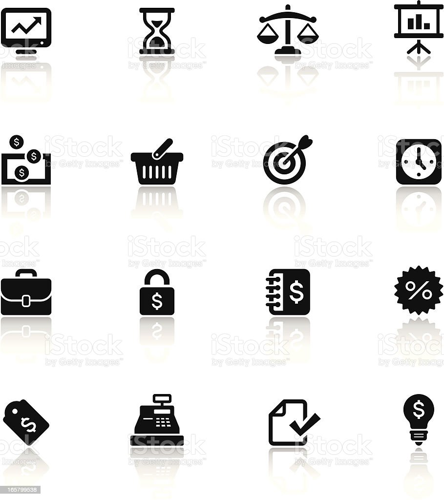 A set of black and white finance icons vector art illustration
