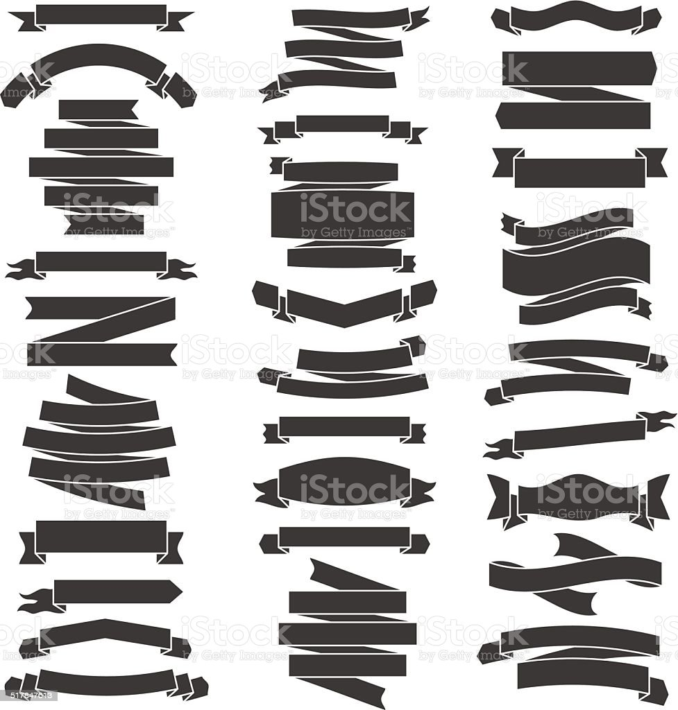 Set Of Black And White Flat Ribbons Vector Illustration ...