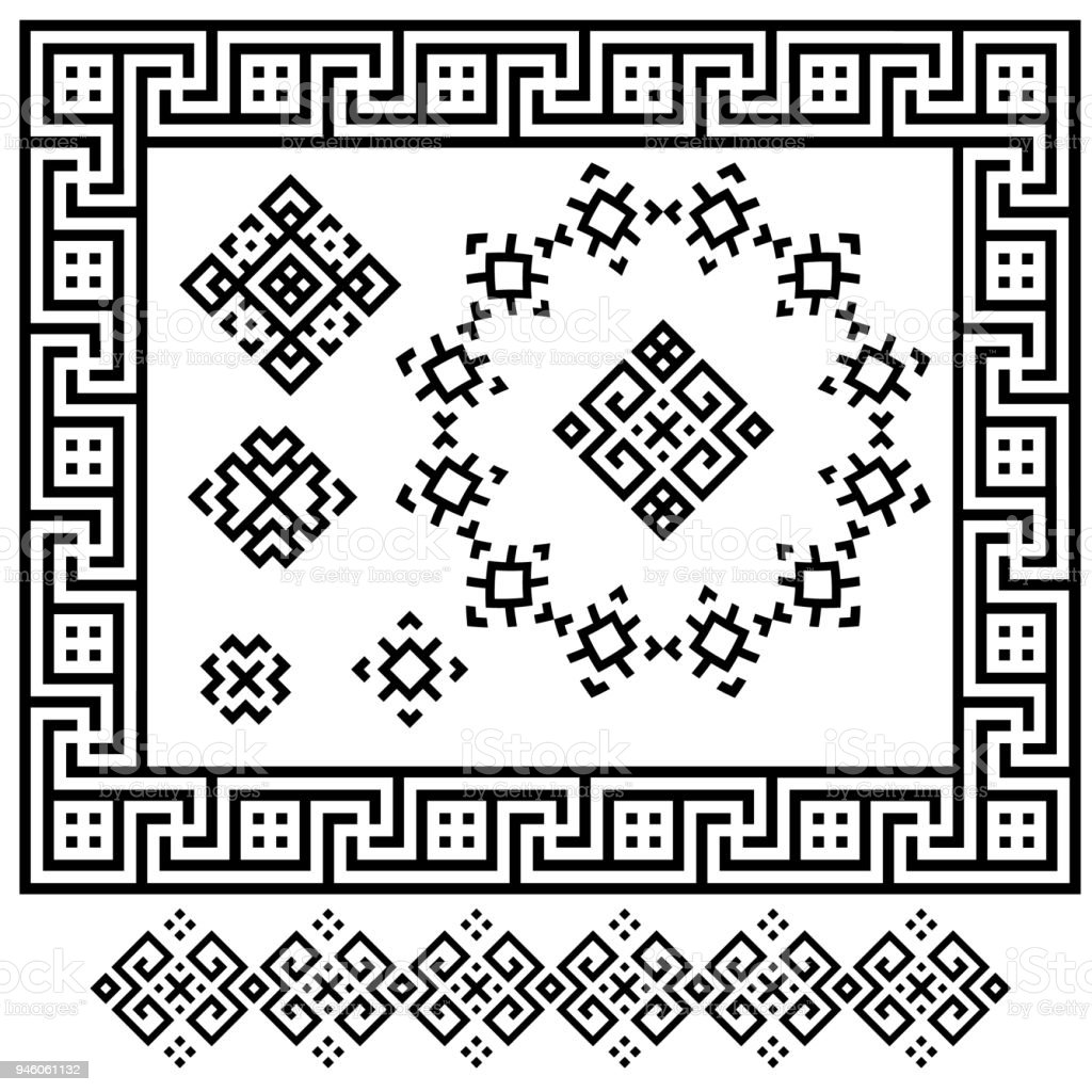 A Set Of Black And White Geometric Designs Signs Frames And Border ...