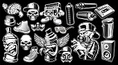 Set of black and white graffiti stickers, logos, badges, shirt designs on dark background.
