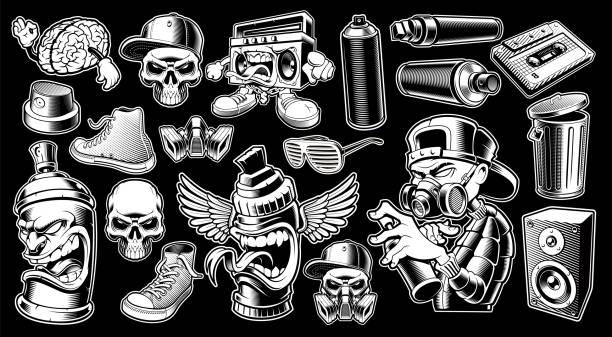 illustrations, cliparts, dessins animés et icônes de ensemble d'autocollants graffiti noir et blanc. - hip hop