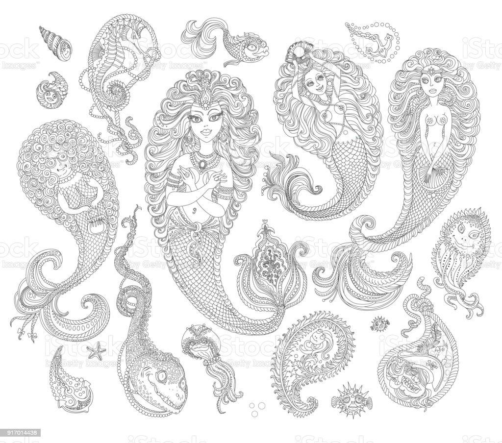 Satz Von Schwarzen Und Weißen Handgezeichnete Meerjungfrauen Und