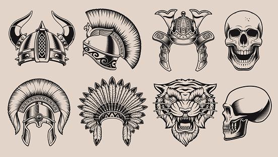 Set of black and white helmets and skulls