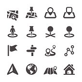 Set of black and white icons depicting location items