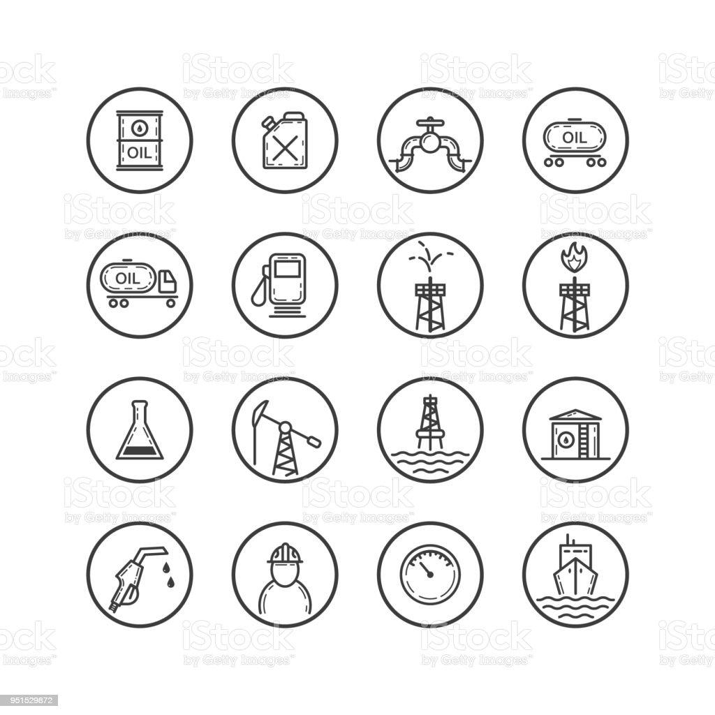 conjunto de iconos blanco y negro en la industria petrolera - ilustración de arte vectorial