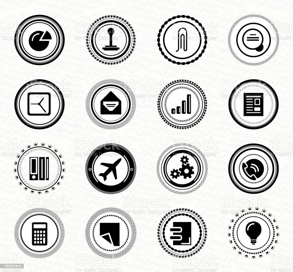 Set of black and white icons royalty-free stock vector art