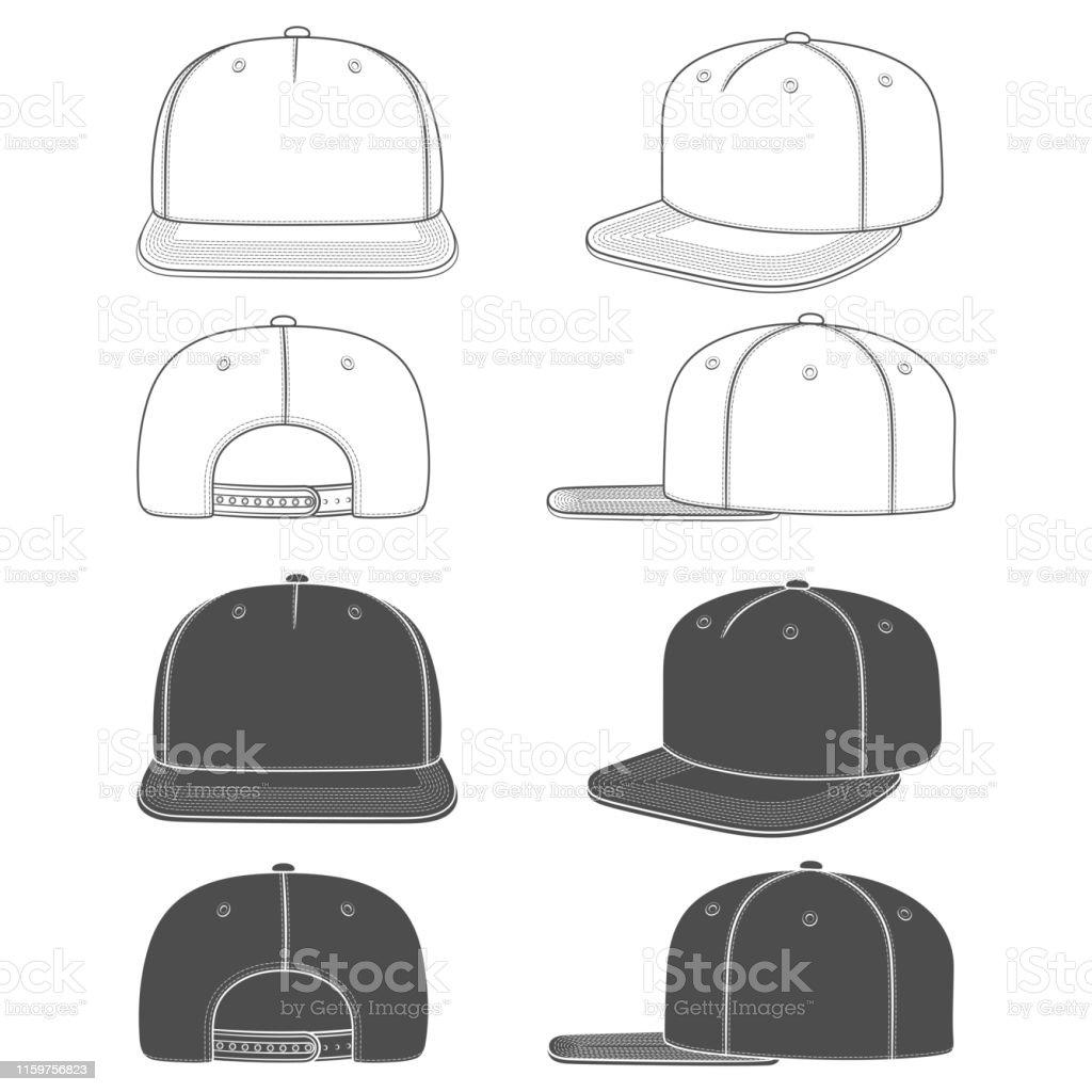 Set van zwart-wit illustratie van een SnapBack, rapper Cap met een platte vizier. Geïsoleerde objecten. - Royalty-free Baseballpet vectorkunst