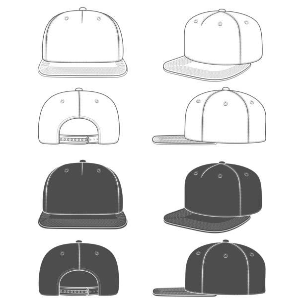 stockillustraties, clipart, cartoons en iconen met set van zwart-wit illustratie van een snapback, rapper cap met een platte vizier. geïsoleerde objecten. - flat cap
