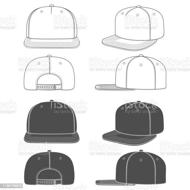 Set Van Zwartwit Illustratie Van Een Snapback Rapper Cap Met Een Platte Vizier Geïsoleerde Objecten Stockvectorkunst en meer beelden van Baseballpet
