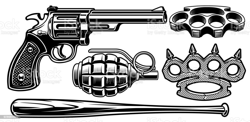 Set of black and white illustrations of different weapons. vector art illustration