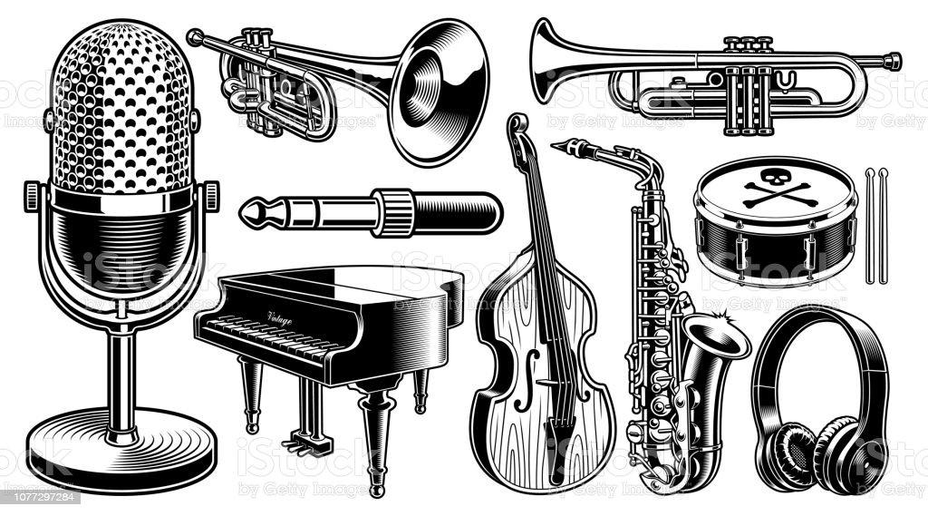 Conjunto de ilustraciones en blanco y negro de instrumentos musicales ilustración de conjunto de ilustraciones en blanco y negro de instrumentos musicales y más vectores libres de derechos de anticuado libre de derechos