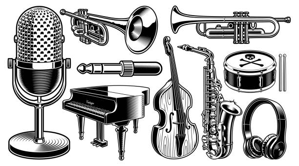 stockillustraties, clipart, cartoons en iconen met set van zwart-wit illustraties van muziekinstrumenten - trompet