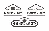 Vector illustration advertises farm food. Text logo farm market.