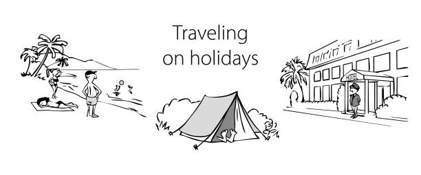Set of black and white illustrations on the theme of travel vector art illustration