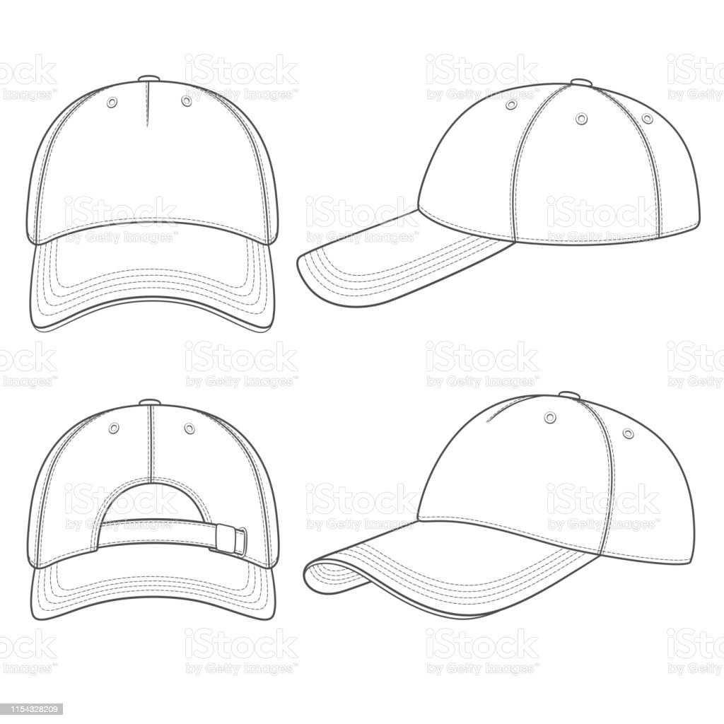 ac3c04311c68b8 Set of black and white illustrations with a baseball cap. Isolated vector  objects. - Illustration .