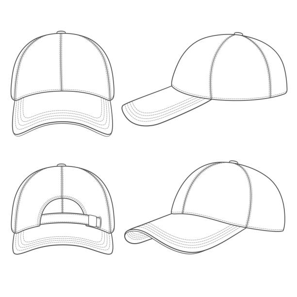 Set of black and white illustrations with a baseball cap. Isolated vector objects. Set of black and white illustrations with a baseball cap. Isolated vector objects on white background. uniform cap stock illustrations
