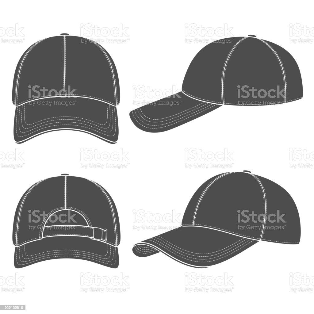 野球帽の黒と白のイラストのセットですベクトル オブジェクトを分離し