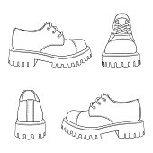 Set of black and white illustrations with boots. Isolated vector objects on white background.